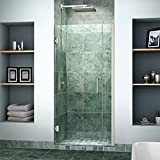 DreamLine Unidoor 34-35 in. Width, Frameless Hinged Shower Door, 3/8'' Glass, Brushed Nickel Finish