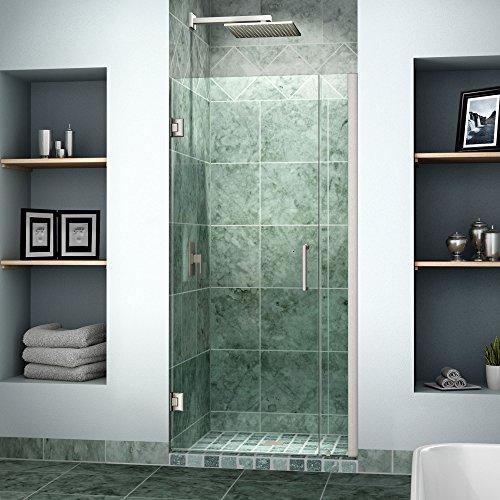 DreamLine Unidoor 33-34 in. Width, Frameless Hinged Shower Door, 3/8'' Glass, Brushed Nickel Finish by DreamLine