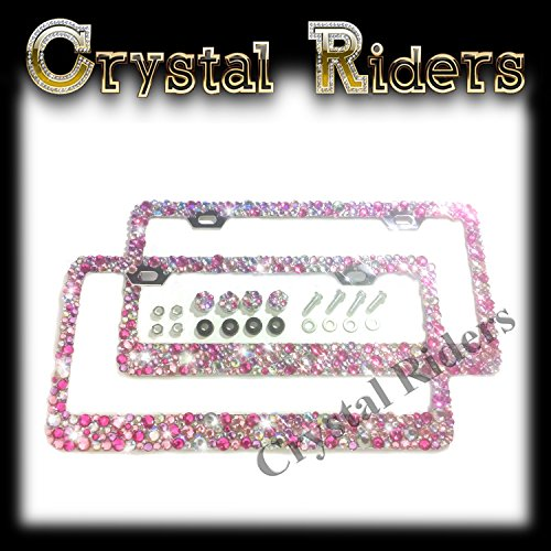 Hot Metal Screw Cover Cap - 2 Bling License Plate Frames with PINK Small Crystal Mix Ab Iridescent HOT PINK 4 SCREW CAPS AND SCREWS MADE IN US Clear Metal Chrome Zink Alloy Holder Sparkly Sparkle Custom Hand Made Hand Crafted