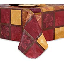 """Laurel Vinyl Tablecloth with Flannel Backing in Autumn Fall Colors With Leaves 60"""" x 102"""""""