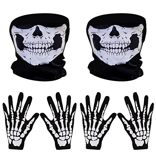 Dance Material For Costumes (Pangda 2 Set White Skeleton Gloves and Skull Face Mask Ghost Bones for Adult Halloween Dance Party Costume)