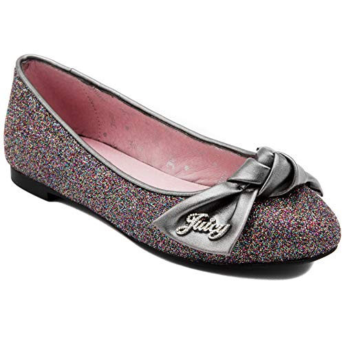 Juicy Couture Kids JC Palm Spring Girls Slip On Ballet Flat Dress Shoe Loafer Pewter 12 Lil Kids