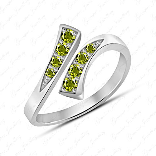 Brilliant Cut Peridot Ring - Gemstar Jewellery 14K White Gold Finishing Brilliant Round Cut Green Peridot Adjustable Bypass Toe Ring