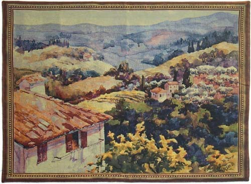 Signare Toscana Tuscany Vineyard Wine Italian Antique Wall Hanging, Wall Art, Artwork, Throw Rug, 54 x 39 inches, Floral Animal Fabrics Interior Design (WH-TOS) - Wine French Toscana