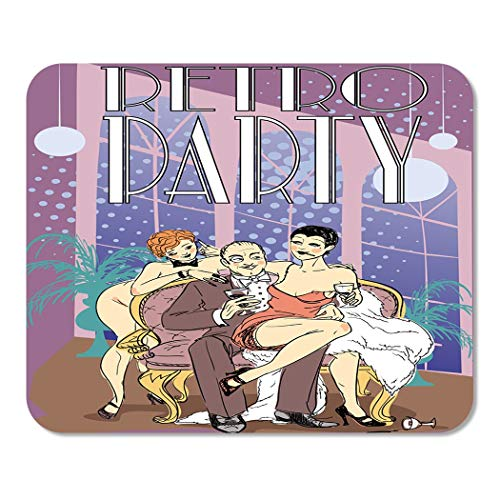Suike Mousepad Computer Notepad Office 20S Retro Party 1920S Rich Man with Two Flapper Girls Sitting on Sofa Nostalgia Home School Game Player Computer Worker 9.5x7.9 Inch -