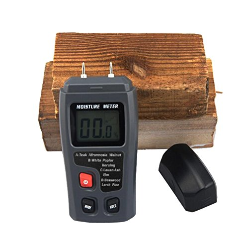 JOYOOO Digital Moisture Meter Detector Tester with Digital LCD Display - 2 Pins Sensor, 4 Calibrated Wood Groups for Selecting