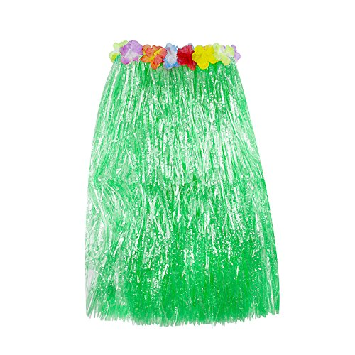 (Super Z Outlet Hawaiian Luau Hibiscus Green String & Colorful Silk Faux Flowers Hula Grass Skirt for Costume Party, Events, Birthdays, Celebration (1 Count) (Green))