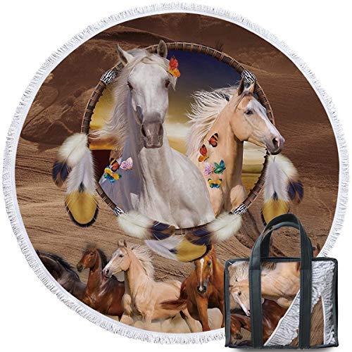 - Sleepwish Galloping Horse Beach Blanket Spirit Animal Dream Catcher Round Beach Towel with Fringe Native American Yoga Mat (60
