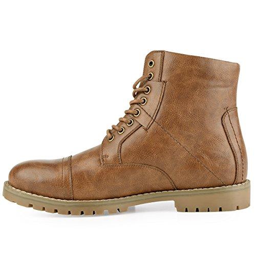Men's Leather Combat Boots Stylish Cap Toe Dress Boots Brown