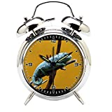 Children's Room Silver Dinosaur Silent Alarm Clock Twin Bell Mute Alarm Clock Quartz Analog Retro Bedside and Desk Clock with Nightlight-724.839_Chameleon, Reptile, Dinosaur, Colors, Animal, Blue
