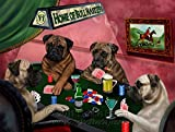 Home of Bullmastiff 4 Dogs Playing Poker Art Portrait Print Woven Throw Sherpa Plush Fleece Blanket (37x57 Sherpa)