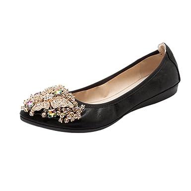 Amazon.com: Women Ballerina Flats Rhinestone Foldable Loafer Comfort ...