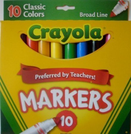 Crayola Broad Line Markers, Classic Colors 10 Each (Pack of ()