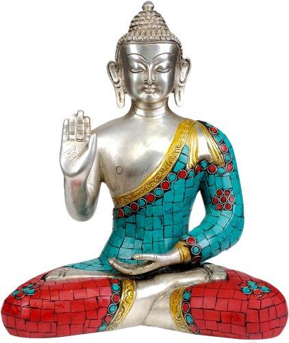 Shakyamuni Buddha Granting Abhaya Inlay Statue – Brass Statue with Inlay