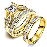 LOVERSRING Couple Ring Bridal Set His Hers 10k Women Yellow Gold Filled Men Stainless Steel Engagement Ring set