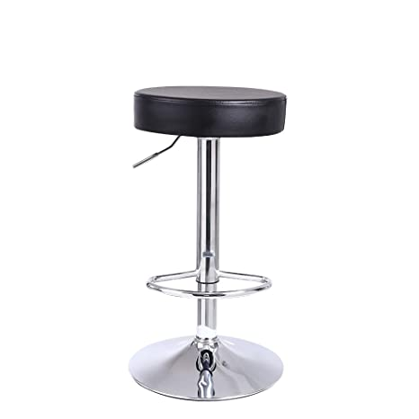 Excellent Kktoner Round Bar Stool Pu Leather With Footrest Height Adjustable Swivel Pub Chair Home Kitchen Bar Stools Backless Stool Black Squirreltailoven Fun Painted Chair Ideas Images Squirreltailovenorg