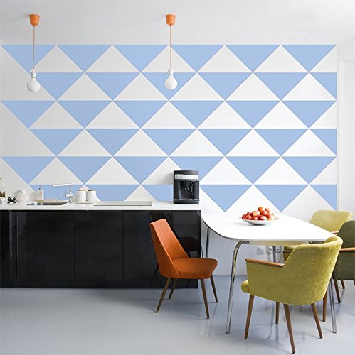 Powder Blue Large Triangle Wall Pattern - Set of 48 - Pattern Vinyl Wall Art Decal for Homes, Offices, Kids Rooms, Nurseries, Schools, High Schools, Colleges, Universities by Dana Decals (Image #1)