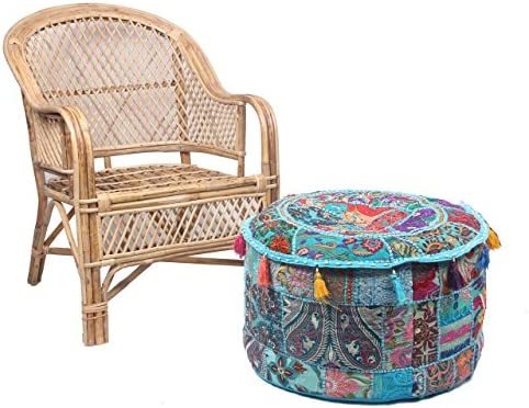 Jaipur Textile Hub Ethnic Indian Cotton Patchwork Embroidered Ottoman Stool Pouf Cover JTH-AP-10