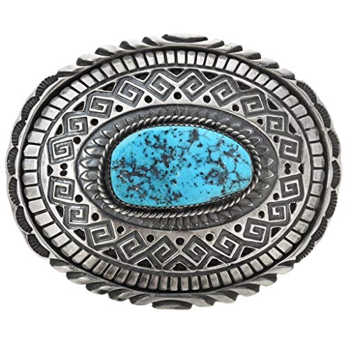 Old Pawn Turquoise - Navajo Kingman Turquoise Silver Buckle Old Pawn Style Sterling 0050