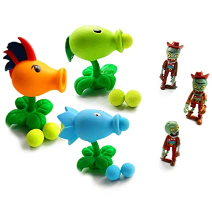 Toyswill Plants vs Zombies Shooting Soft Rubber Assorted Peashooter, Zombie  and Three Balls