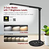 TaoTronics TT-DL034 LED Desk Dimmable Table Lamp, Office Light with Memory Function, 3 Color Modes and 7 Brightness Levels, Touch Control, Official Member of Philips Enabled Licensing Program
