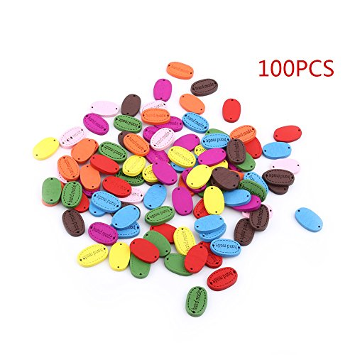 50/100 Pcs Oval Wood Buttons 2 Holes Sewing Crafts Accessories with 'Hand made' Lettering(100/Bag-Assorted Color)