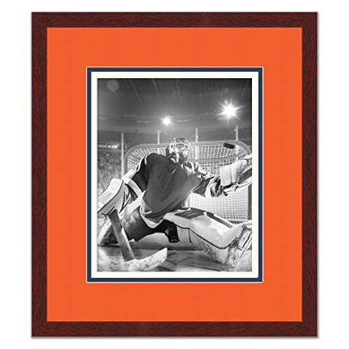 Poster Palooza Brown Wood Frame with a Triple Mat for 8x10 Photos - Orange, Navy Blue, and White Mats 8 X 10 Oilers