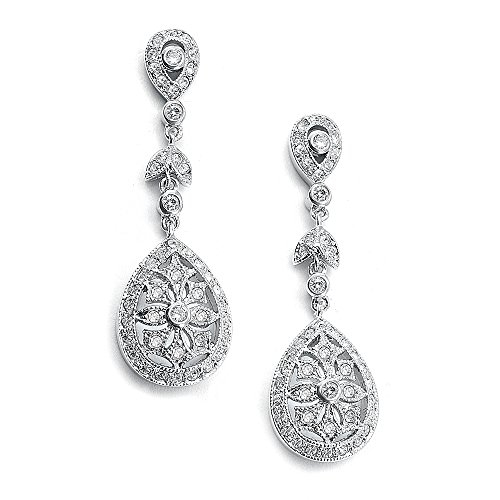 (Mariell Vintage Etched Cubic Zirconia Bridal Earrings - Genuine Antique Platinum Plated Wedding Dangles)