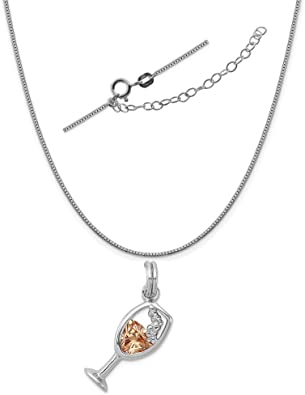 925 Sterling Silver Champagne White Cubic Zirconia CZ Pendant Necklace Size 20/'/'