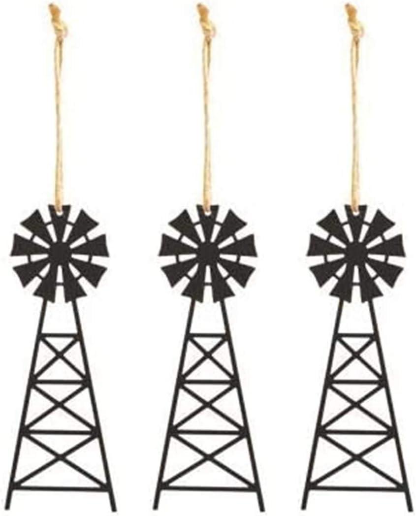 SET of 3 | Metal Windmill Ornaments | 5 inch | Tin Farmhouse Windmill Wall Decor