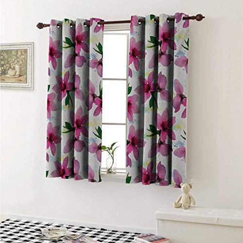 (Floral Blackout Draperies for Bedroom Vivid Cherry Blossom Sakura Petals Botany Essence Watercolor Artwork Curtains Kitchen Valance W72 x L63 Inch Fuchsia Green White Yellow)