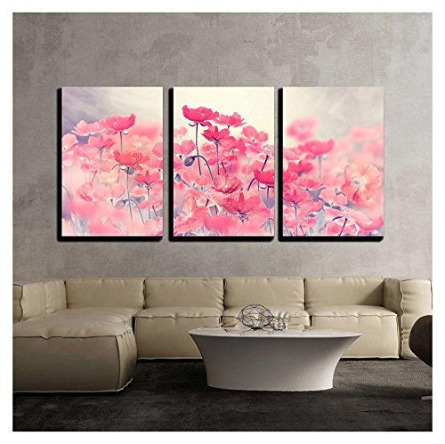 wall26 - 3 Piece Canvas Wall Art - Field of Bright Red Poppy Flowers - Modern Home Decor Stretched and Framed Ready to Hang - 16