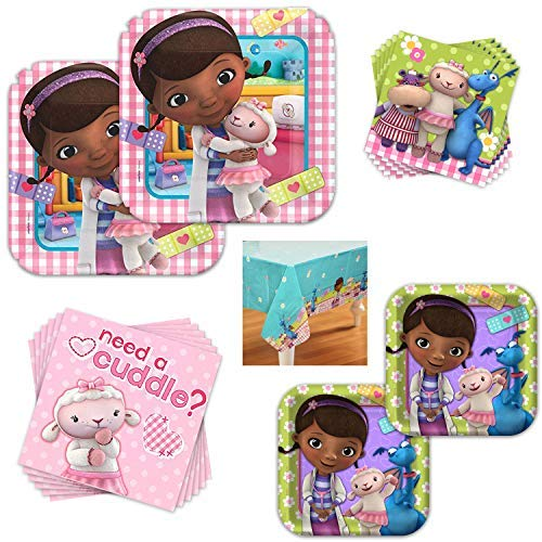Doc McStuffins Dinnerware Bundle - Serves 16 Guests - Birthday Party Kit Includes Paper Plates, Napkins, Table