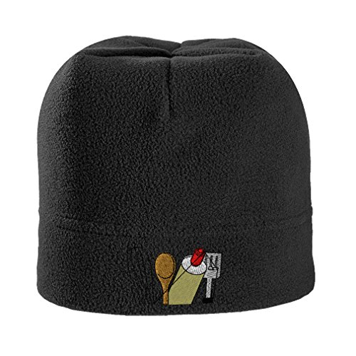 Speedy Pros Chef Cooking Topper Utensils Embroidery Unisex Adult Polyester/Spandex Stretch Fleece Beanie Skully Hat - Black, One Size