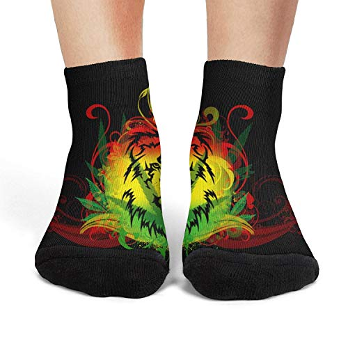 Milr Gile Womens's lion weed leaf Crew Socks Crazy Novelty Socks Athletic Socks