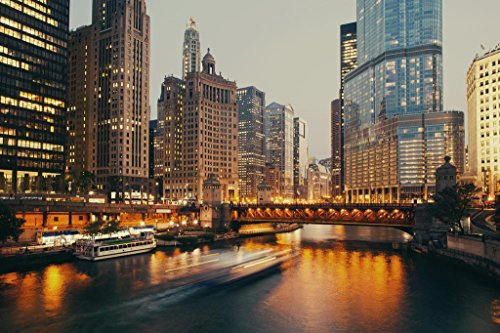 DuSable Bridge at Twilight Chicago Michigan Avenue Mural Giant Poster 54x36 inch