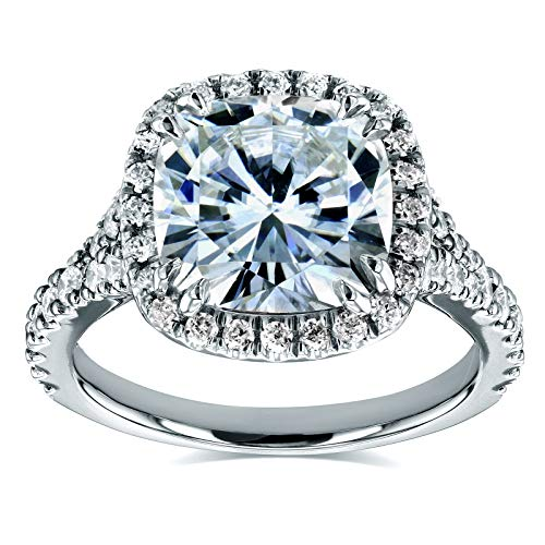 (Near-Colorless (F-G) Cushion Moissanite Halo Cathedral Ring 3 1/3 CTW in 14k White Gold, Size 8.5)