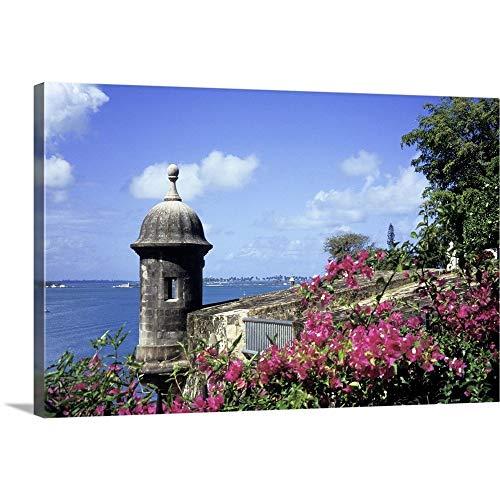 Caribbean, Puerto Rico, Old San Juan. Old City Walls Canvas Wall Art Print, 36