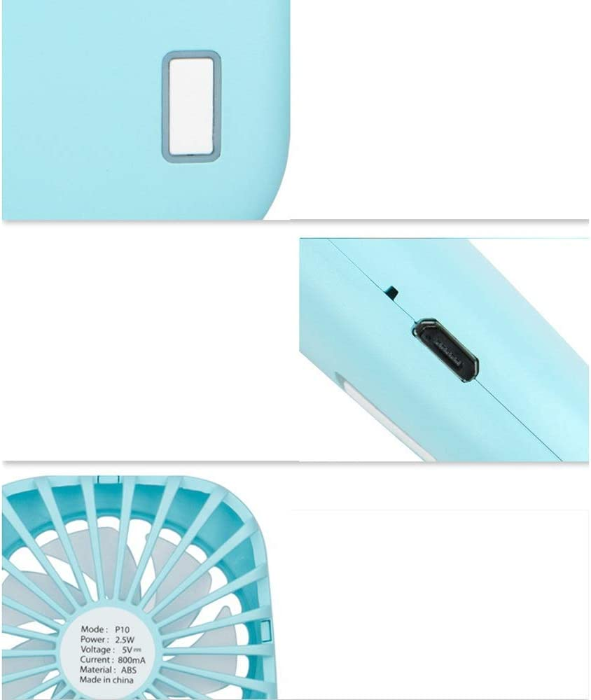 Mini USB Table Desk Personal Fan Handheld Mini Portable Pocket USB Rechargeable Fans with 2 Speed for Home Office Outdoor Travel Camping Metal Design Quiet Operation USB Cable Fan
