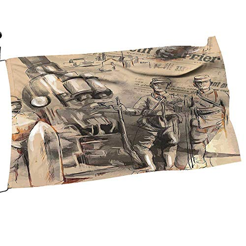 painting-home Garden Flag and Pole Set Soldiers St be Large Howitzer Warfare Scenery from Battle Black Double Sided Outdoor Holidays Yard Flags16 x 24
