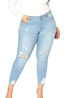 Yacun Femme Taille Haute Jeans Skinny Jeans Slim A Trou  Amazon.fr ... a3ce3397d86f