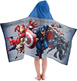 Marvel Avengers Super Soft & Absorbent Kids Hooded Bath/Pool/Beach Towel, Featuring Spiderman & Black Panther-Fade Resistant Cotton Terry Towel 22.5'' Inch x 51'' Inch (Official Marvel Product)