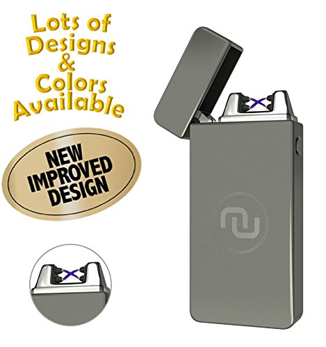 Cigarette Refill - Novelty Wares USB Flameless Plasma Dual Arc Rechargeable Windproof Cigarette Lighter with Charging Cable and Gift Box (Gun Metal)