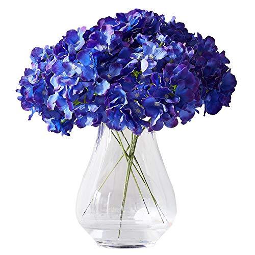 Kislohum Artificial Hydrangea Flower 10 Heads Lavender Hydrangea Silk Flowers Head for Wedding Centerpieces Bouquets DIY Floral Decor Home Decoration with Long Stems (Hydrangea Arrangements Purple)