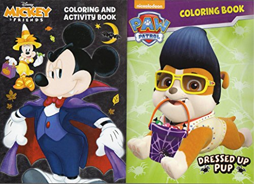 Paw Patrol / Disney Mickey & Friends - Halloween Coloring and Activity Book - Set of 2 Books (Paw Patrol Halloween Puzzle)