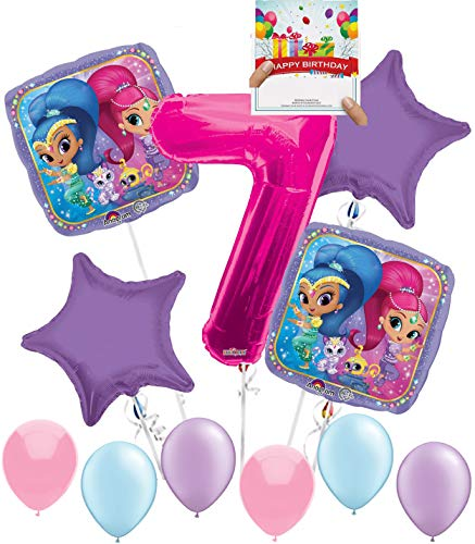 Shimmer Shine Party Supplies Birthday Balloon Decoration Bundle for 7th Birthday -