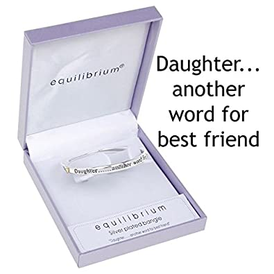 Daughter..... Another Word For Best Friend Silver Sentiment Bangle 803A7