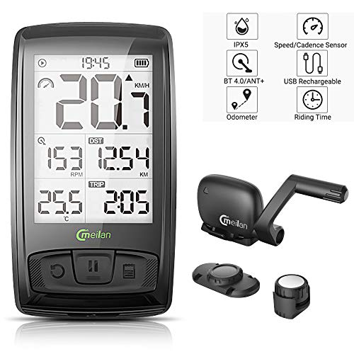 Meilan Bike Computer Wireless 2.5 Inch Cycling Computer Bicycle Speedometer and Odometer Cycle Computer with ANT+ Speed & Cadence Sensor