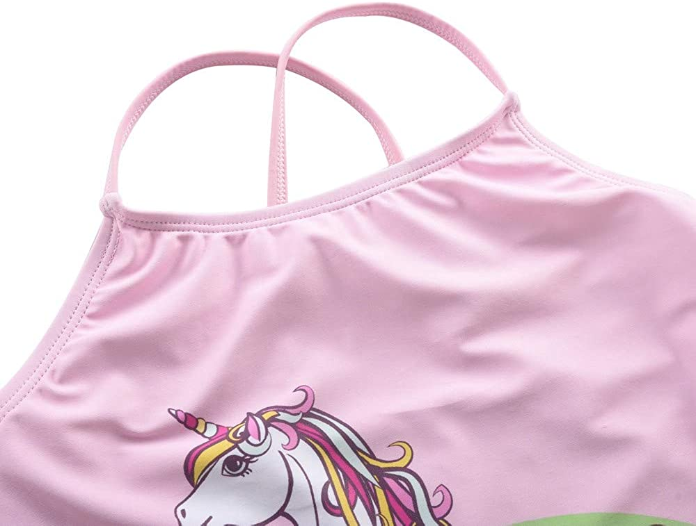 Firpearl Girls Two Piece Swimsuit Rainbow Unicorn Print Flounce Tankini Kids Swimwear