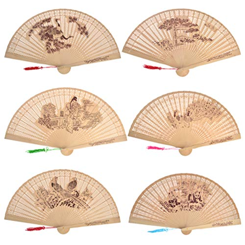 baotongle 6 pcs Chinese Sandalwood Scented Wooden Fan Openwork Decorative Folding Fans for Wedding Decoration, Birthdays, Home Gifts (Natural Color, 9'') - Scented Fan Sandalwood